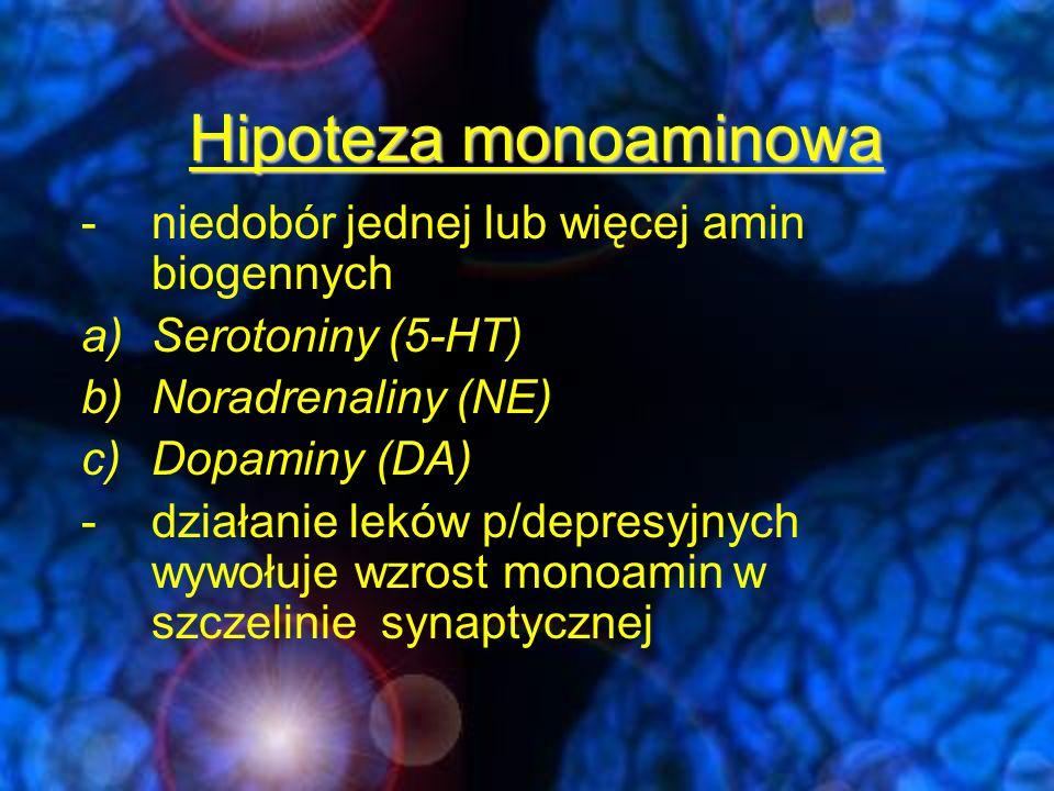 Hipoteza monoaminowa niedobór jednej lub więcej amin biogennych