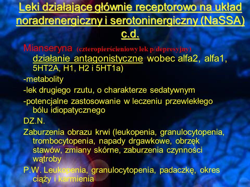 Leki działające głównie receptorowo na układ noradrenergiczny i serotoninergiczny (NaSSA) c.d.