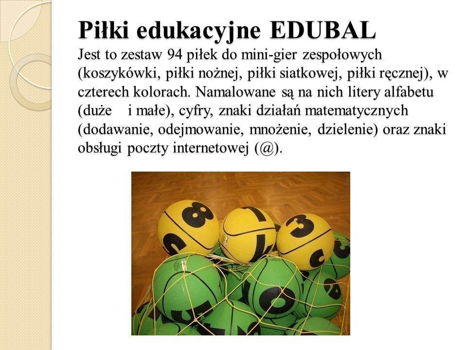 Piłki edukacyjne EDUBAL Jest to zestaw 94 piłek do mini-gier zespołowych (koszykówki, piłki nożnej, piłki siatkowej, piłki ręcznej), w czterech kolorach.