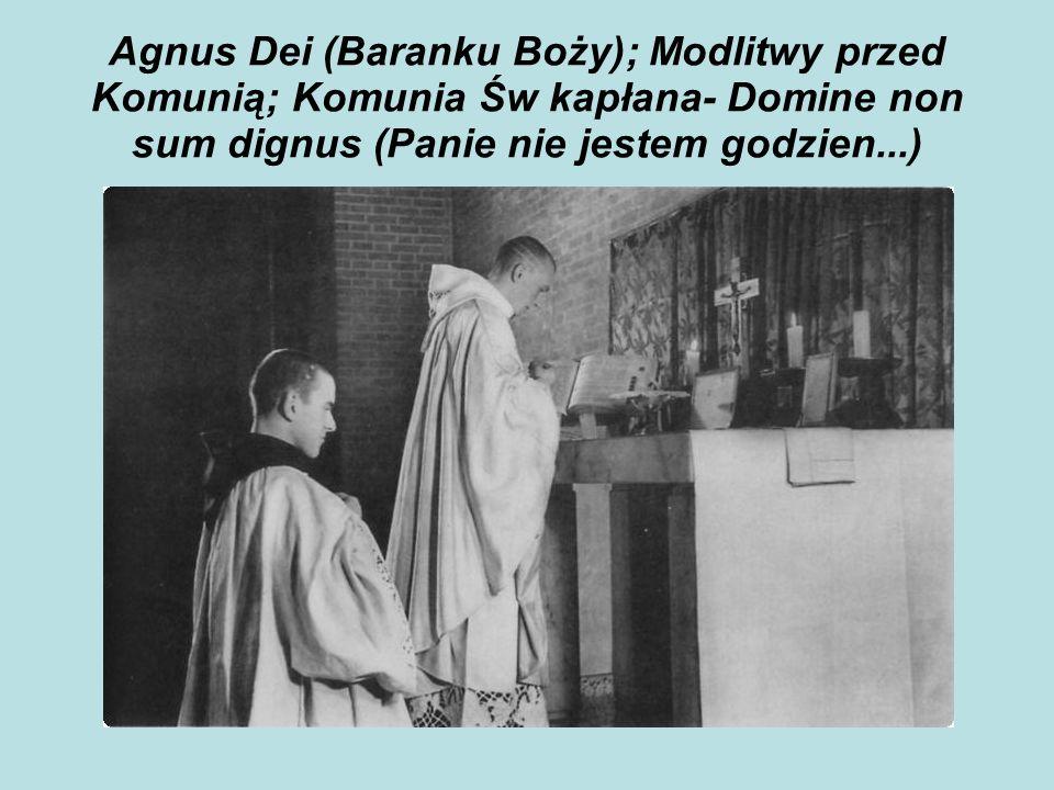 Agnus Dei (Baranku Boży); Modlitwy przed Komunią; Komunia Św kapłana- Domine non sum dignus (Panie nie jestem godzien...)