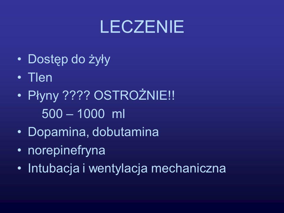 LECZENIE Dostęp do żyły Tlen Płyny OSTROŻNIE!! 500 – 1000 ml