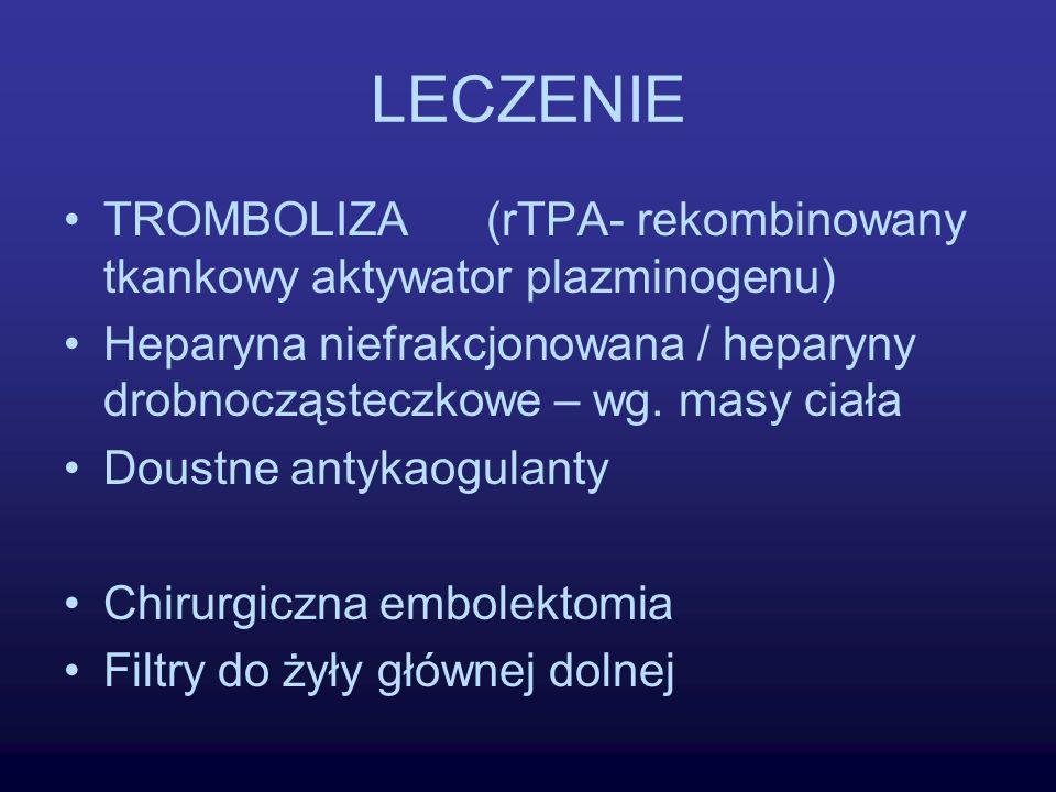 LECZENIE TROMBOLIZA (rTPA- rekombinowany tkankowy aktywator plazminogenu)
