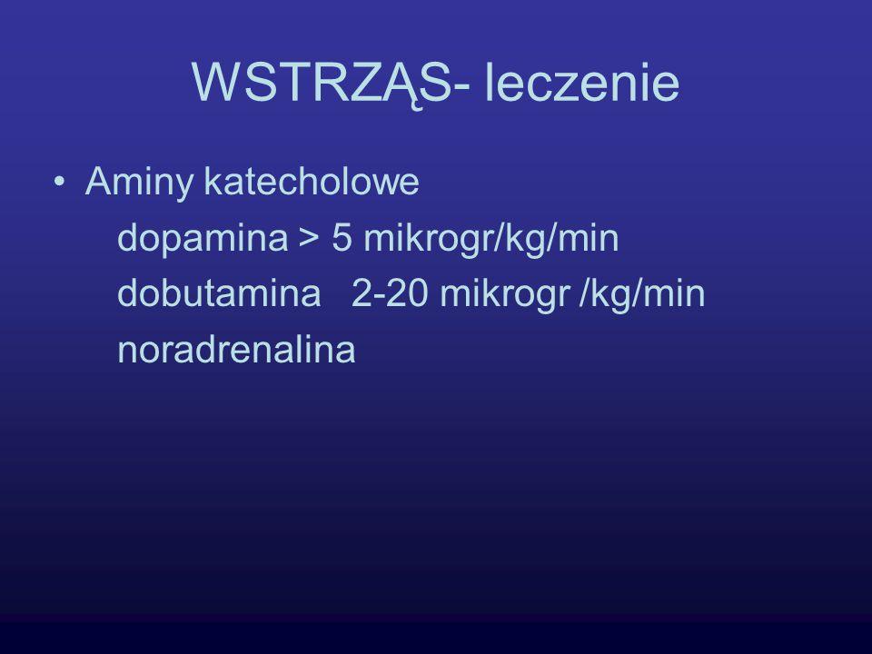 WSTRZĄS- leczenie Aminy katecholowe dopamina > 5 mikrogr/kg/min