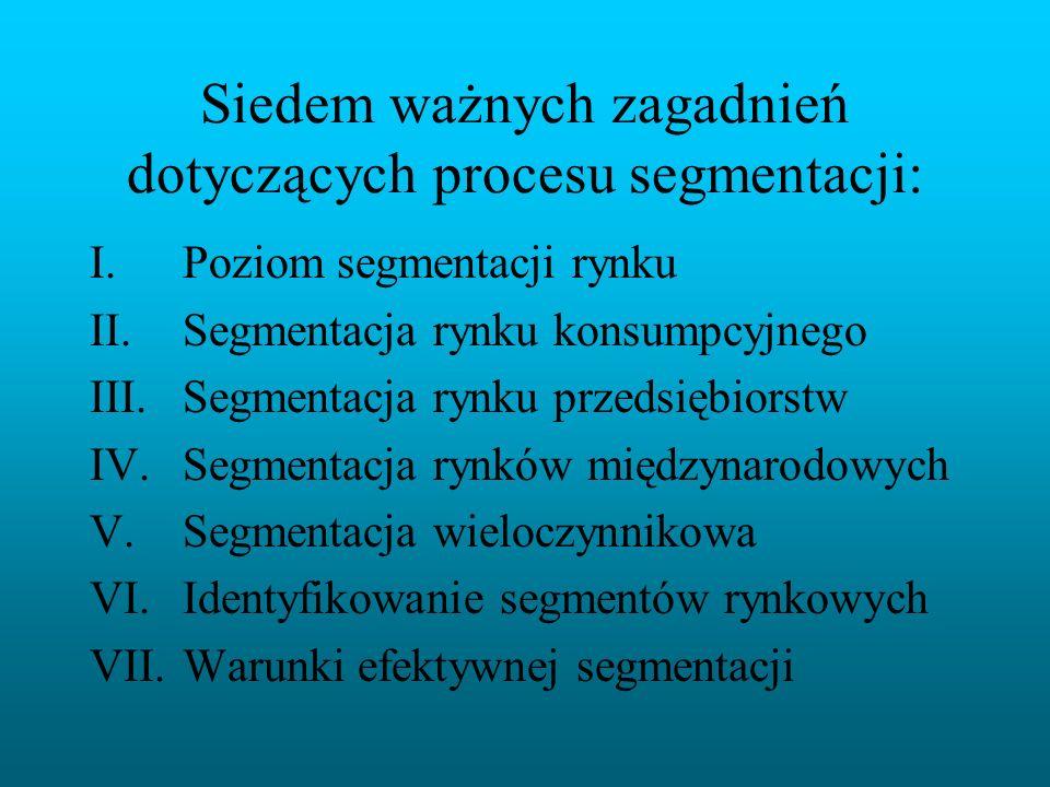 Siedem ważnych zagadnień dotyczących procesu segmentacji: