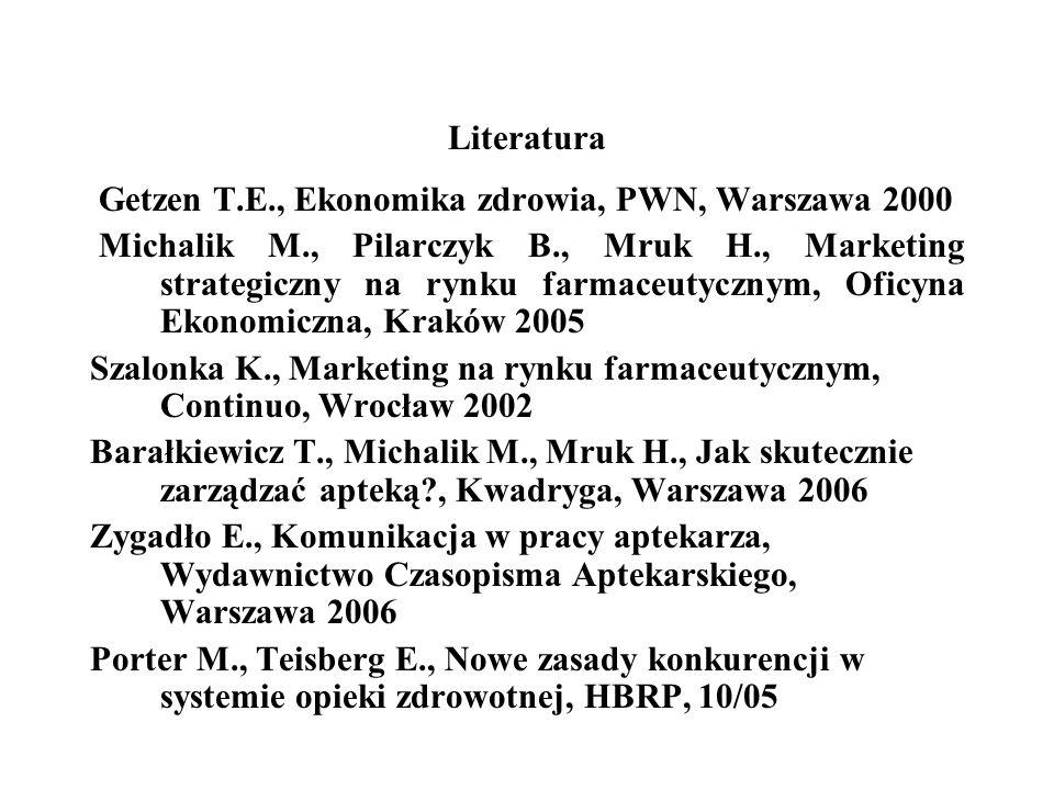 Literatura Getzen T.E., Ekonomika zdrowia, PWN, Warszawa 2000.