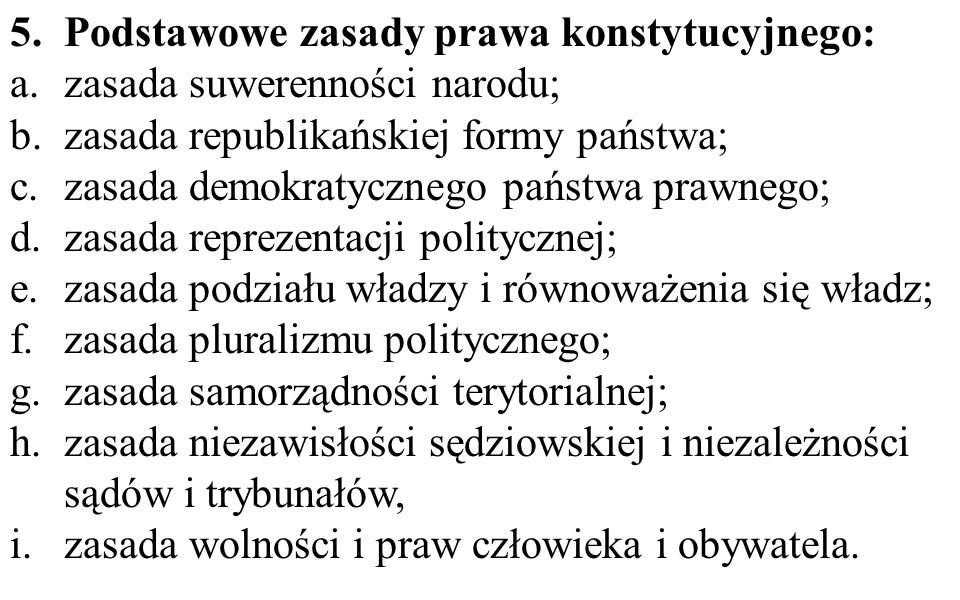 Podstawowe zasady prawa konstytucyjnego: