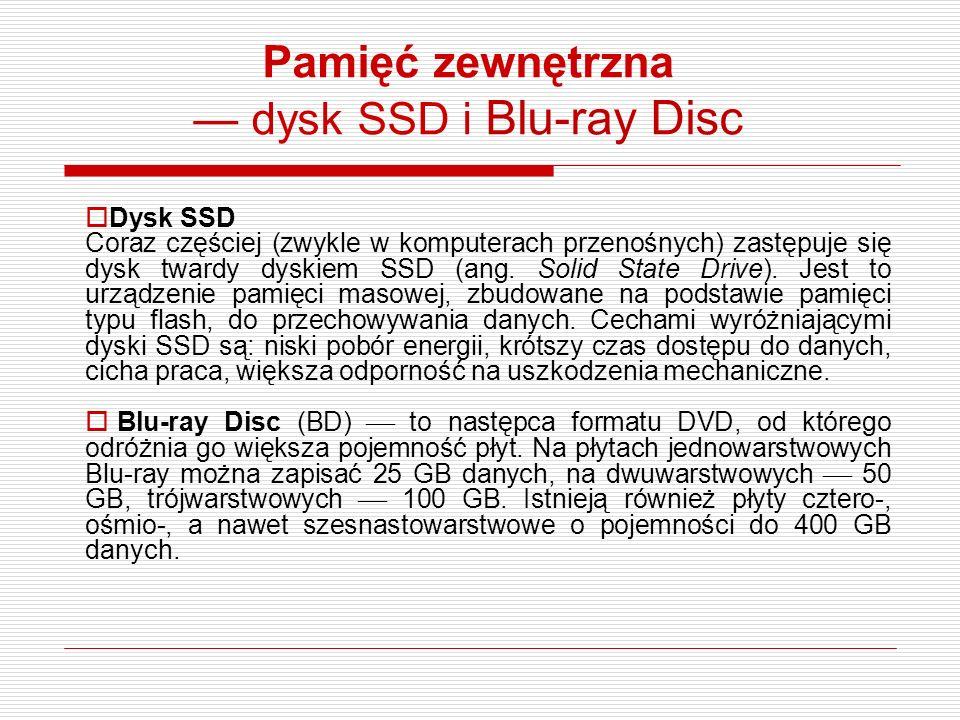 Pamięć zewnętrzna — dysk SSD i Blu-ray Disc