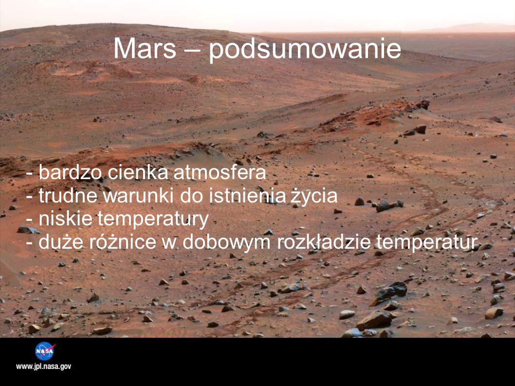 Mars – podsumowanie - bardzo cienka atmosfera