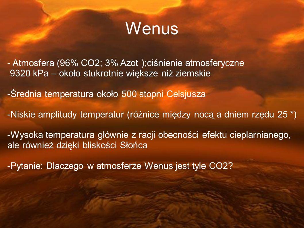 - Atmosfera (96% CO2; 3% Azot );ciśnienie atmosferyczne 9320 kPa – około stukrotnie większe niż ziemskie