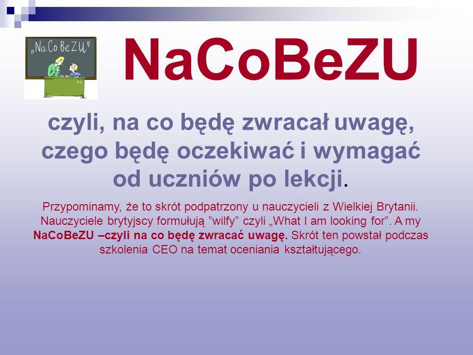 NaCoBeZU czyli, na co będę zwracał uwagę, czego będę oczekiwać i wymagać od uczniów po lekcji.