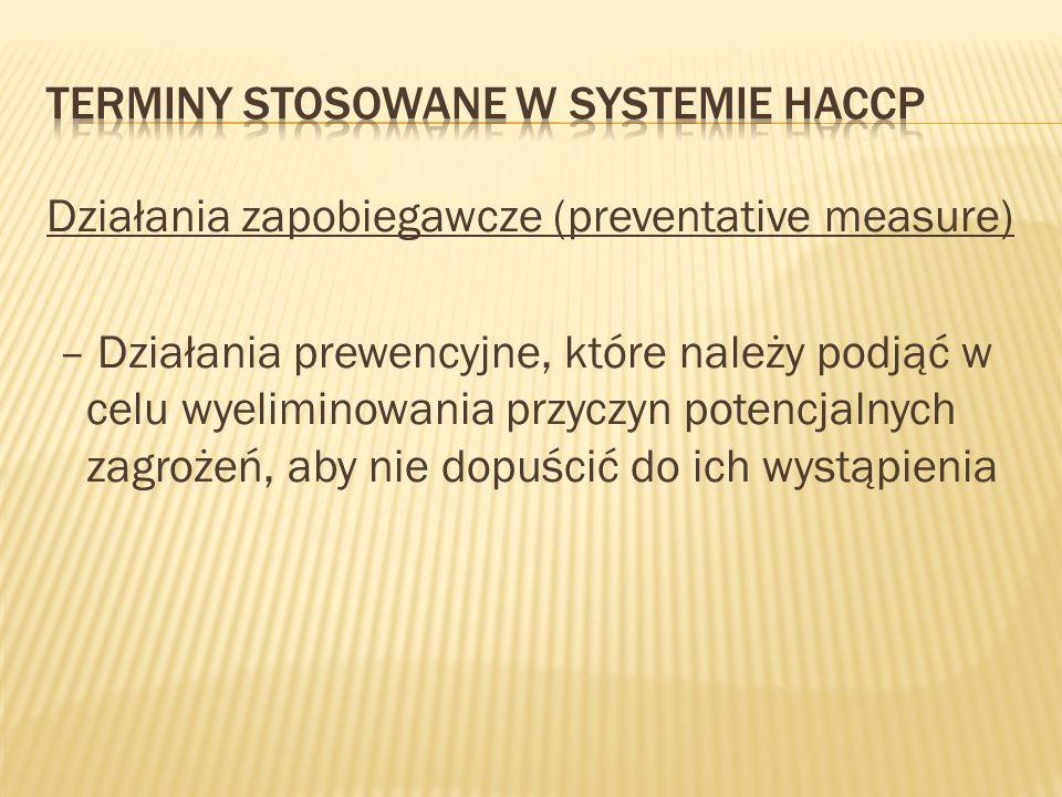 Terminy stosowane w systemie HACCP