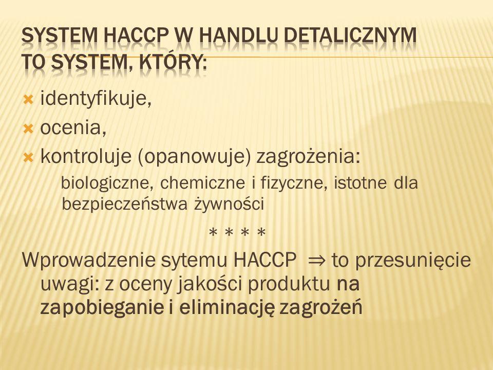 System HACCP w handlu detalicznym to system, który: