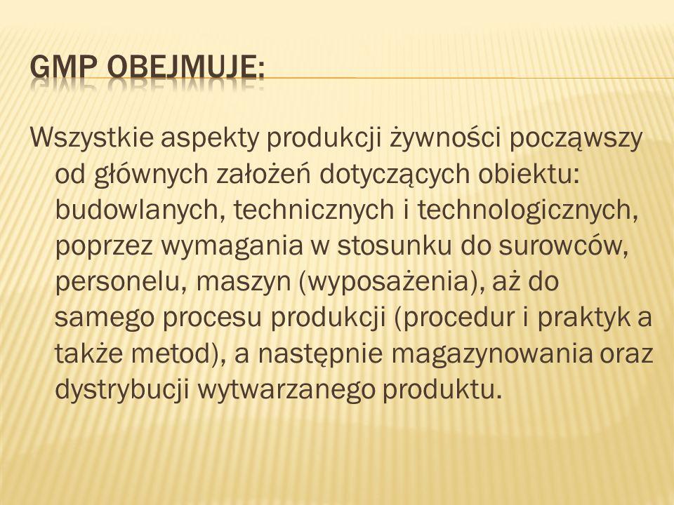 GMP obejmuje:
