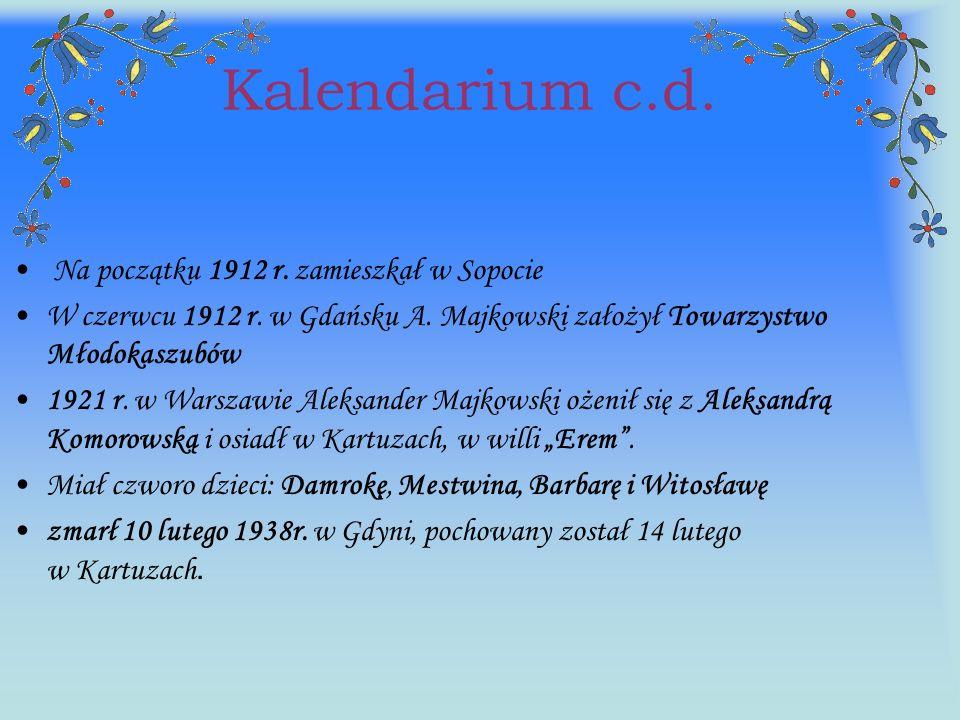 Kalendarium c.d. Na początku 1912 r. zamieszkał w Sopocie