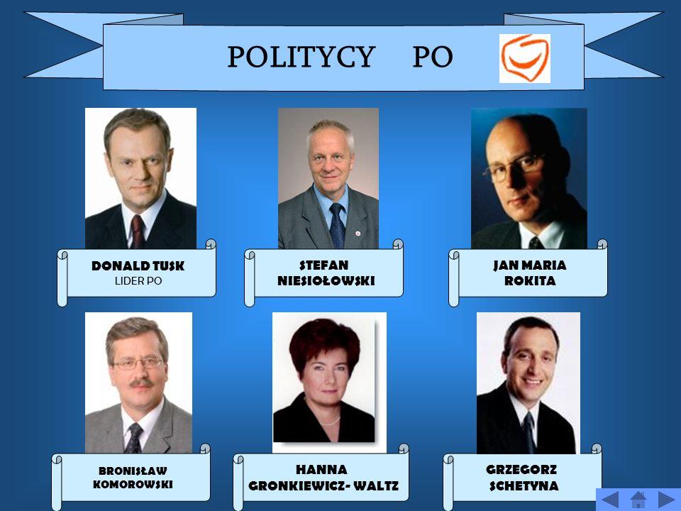 POLITYCY PO DONALD TUSK STEFAN NIESIOŁOWSKI JAN MARIA ROKITA HANNA