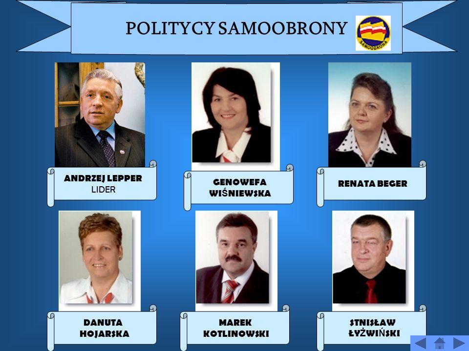 POLITYCY SAMOOBRONY ANDRZEJ LEPPER LIDER RENATA BEGER GENOWEFA
