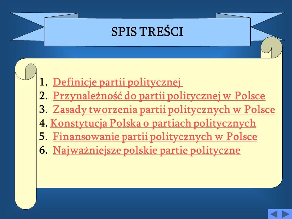 SPIS TREŚCI Definicje partii politycznej