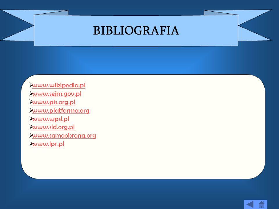 BIBLIOGRAFIA www.wikipedia.pl www.sejm.gov.pl www.pis.org.pl