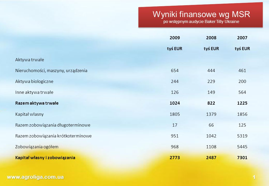 Wyniki finansowe wg MSR
