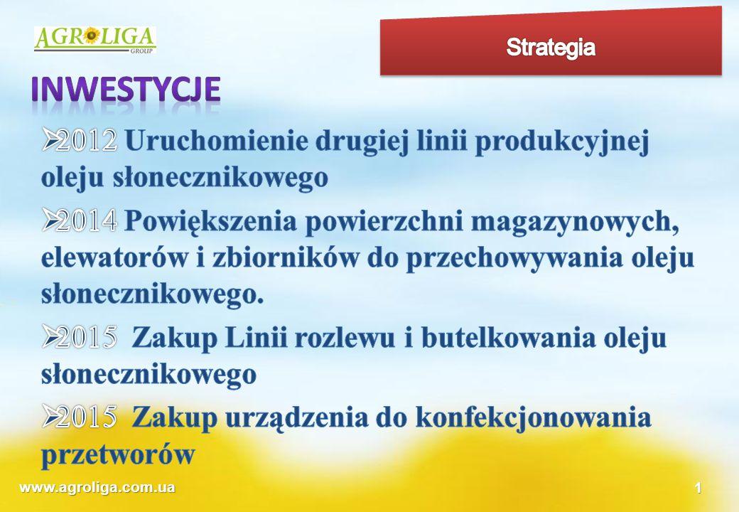 Strategia inwestycje. 2012 Uruchomienie drugiej linii produkcyjnej oleju słonecznikowego.