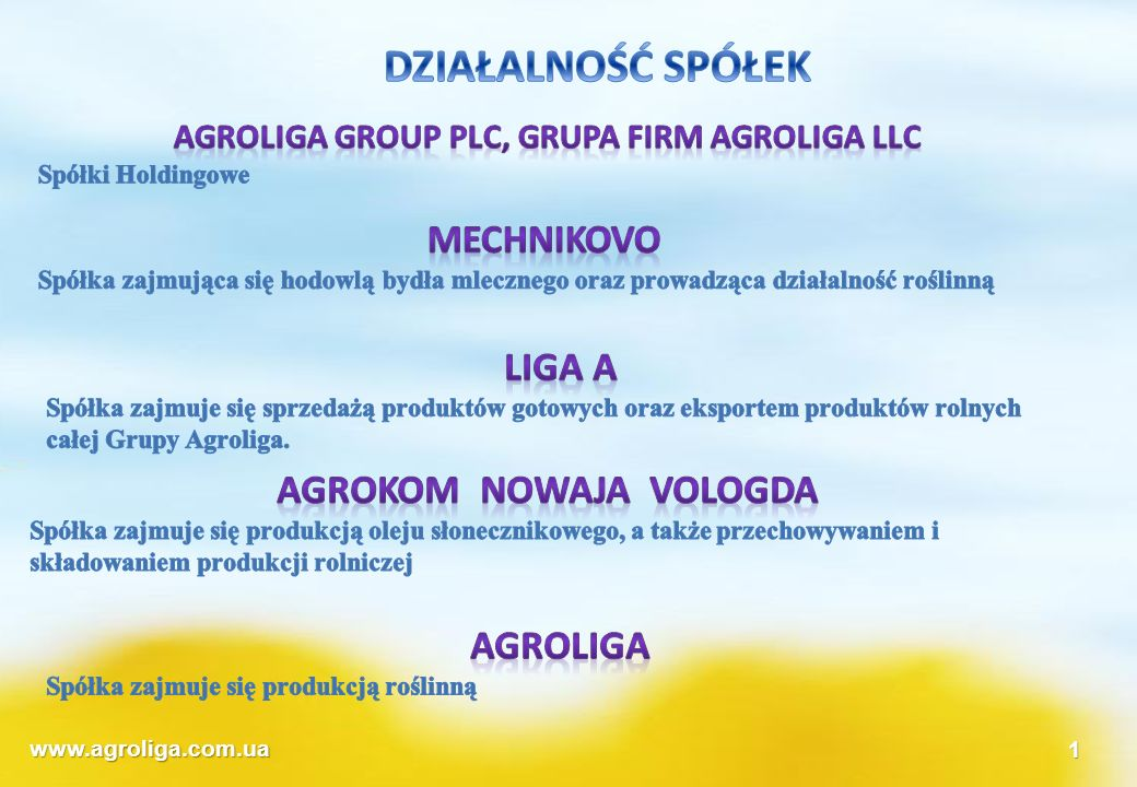 Agroliga group PLC, Grupa firm agroliga llc Agrokom Nowaja Vologda