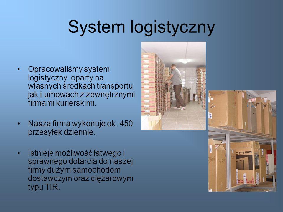 System logistycznyOpracowaliśmy system logistyczny oparty na własnych środkach transportu jak i umowach z zewnętrznymi firmami kurierskimi.
