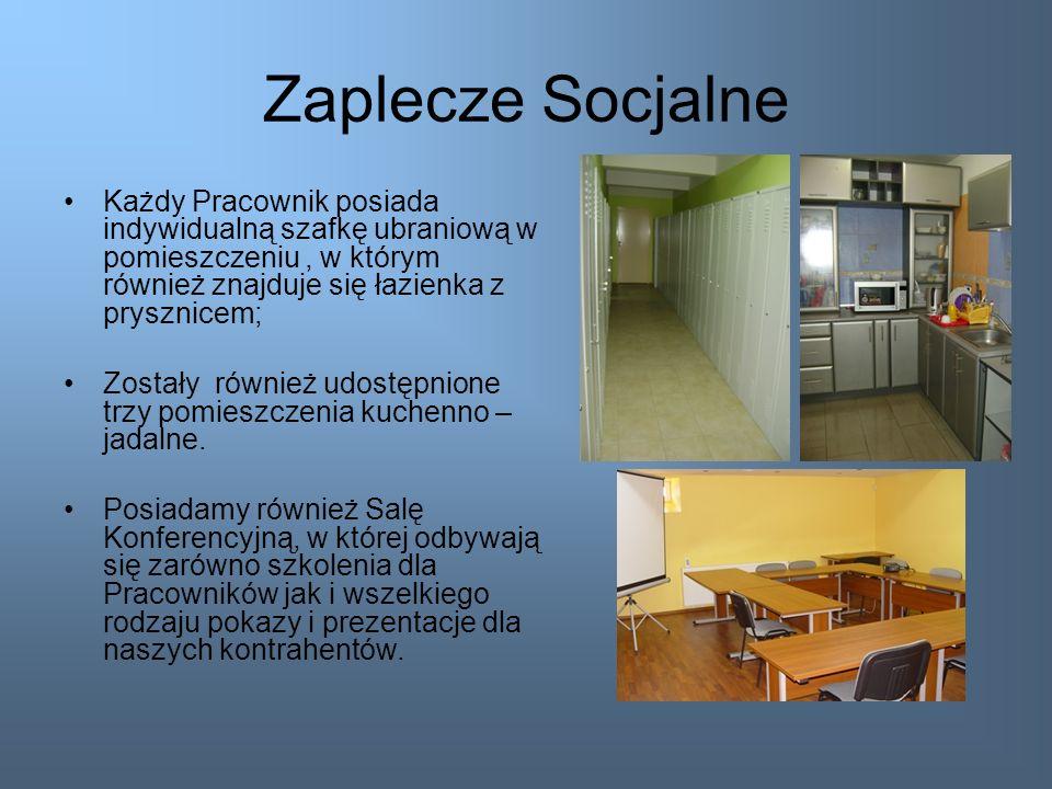 Zaplecze SocjalneKażdy Pracownik posiada indywidualną szafkę ubraniową w pomieszczeniu , w którym również znajduje się łazienka z prysznicem;