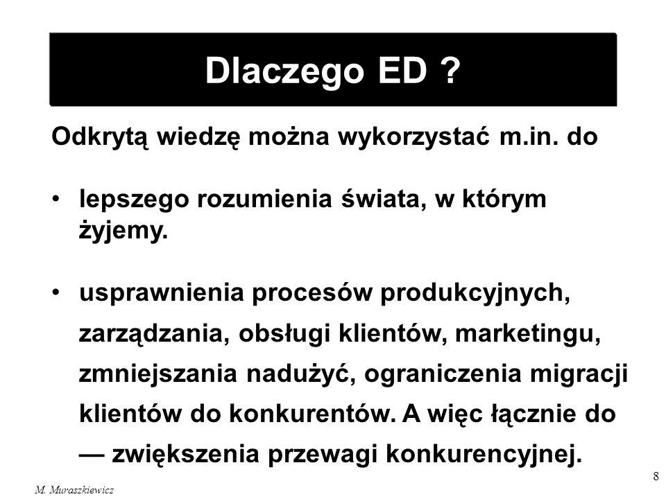 Dlaczego ED Odkrytą wiedzę można wykorzystać m.in. do