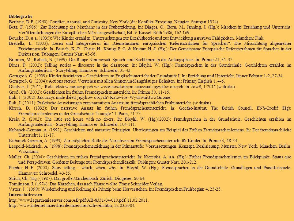 Bibliografie Berlyne, D.E. (1960): Conflict, Arousal, and Curiosity. New York (dt.: Konflikt, Erregung, Neugier. Stuttgart 1974).