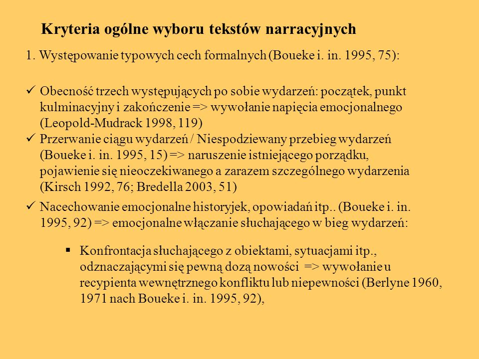 Kryteria ogólne wyboru tekstów narracyjnych