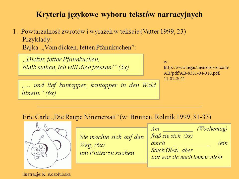 Kryteria językowe wyboru tekstów narracyjnych