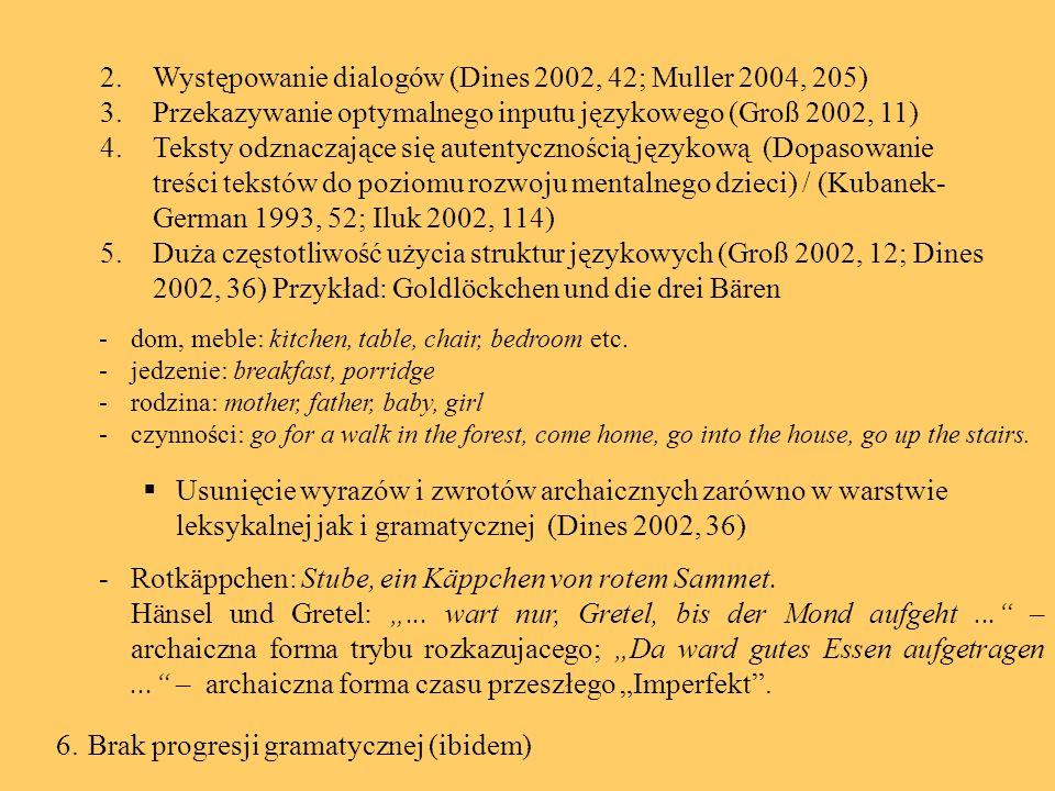 Występowanie dialogów (Dines 2002, 42; Muller 2004, 205)