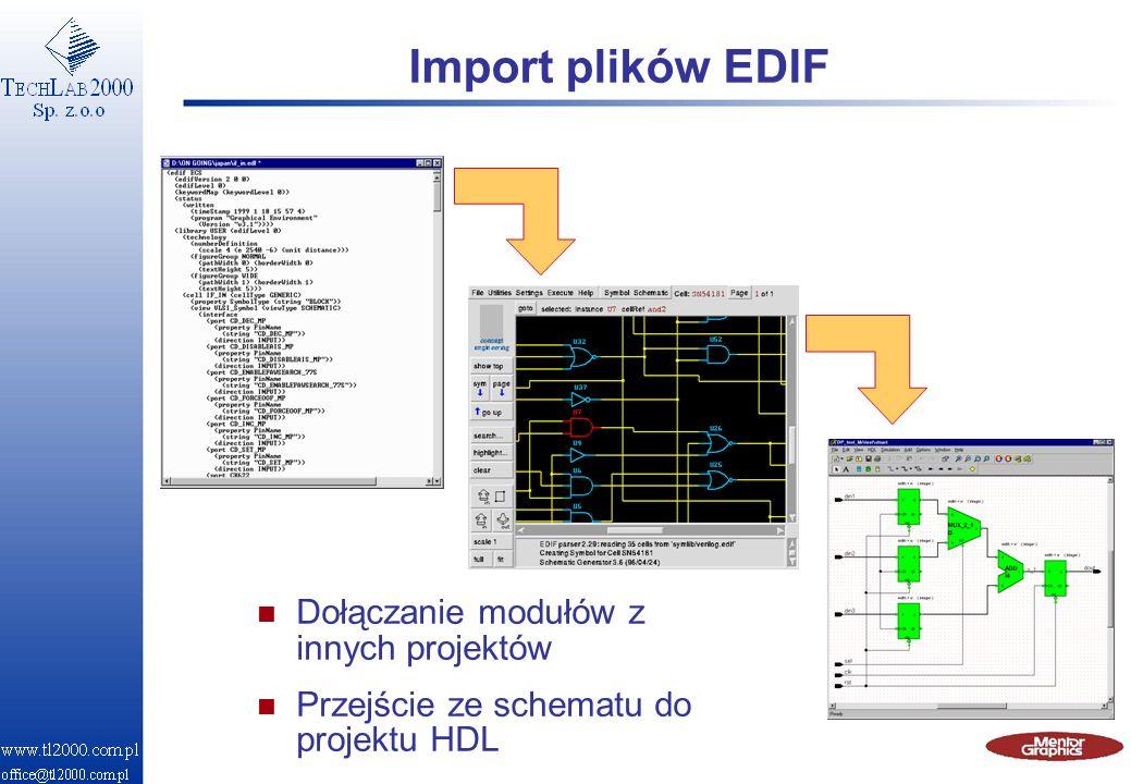 Import plików EDIF Dołączanie modułów z innych projektów