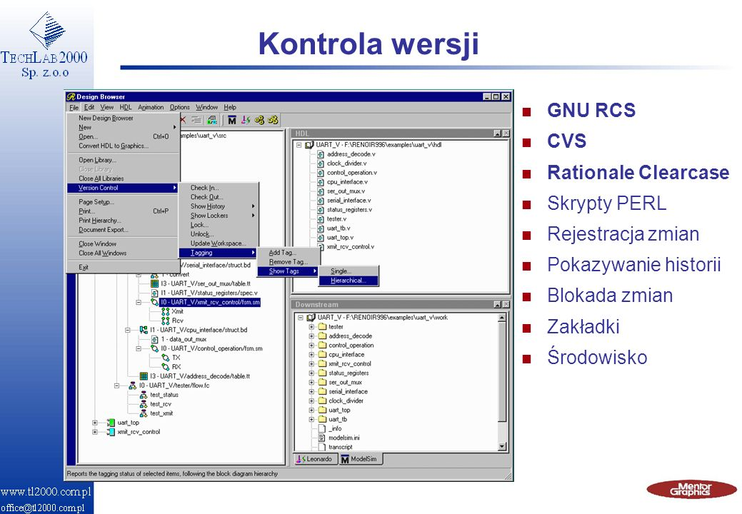 Kontrola wersji GNU RCS CVS Rationale Clearcase Skrypty PERL