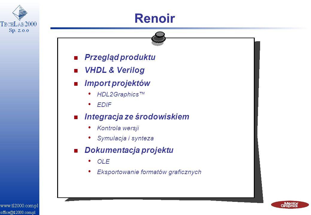 Renoir Przegląd produktu VHDL & Verilog Import projektów
