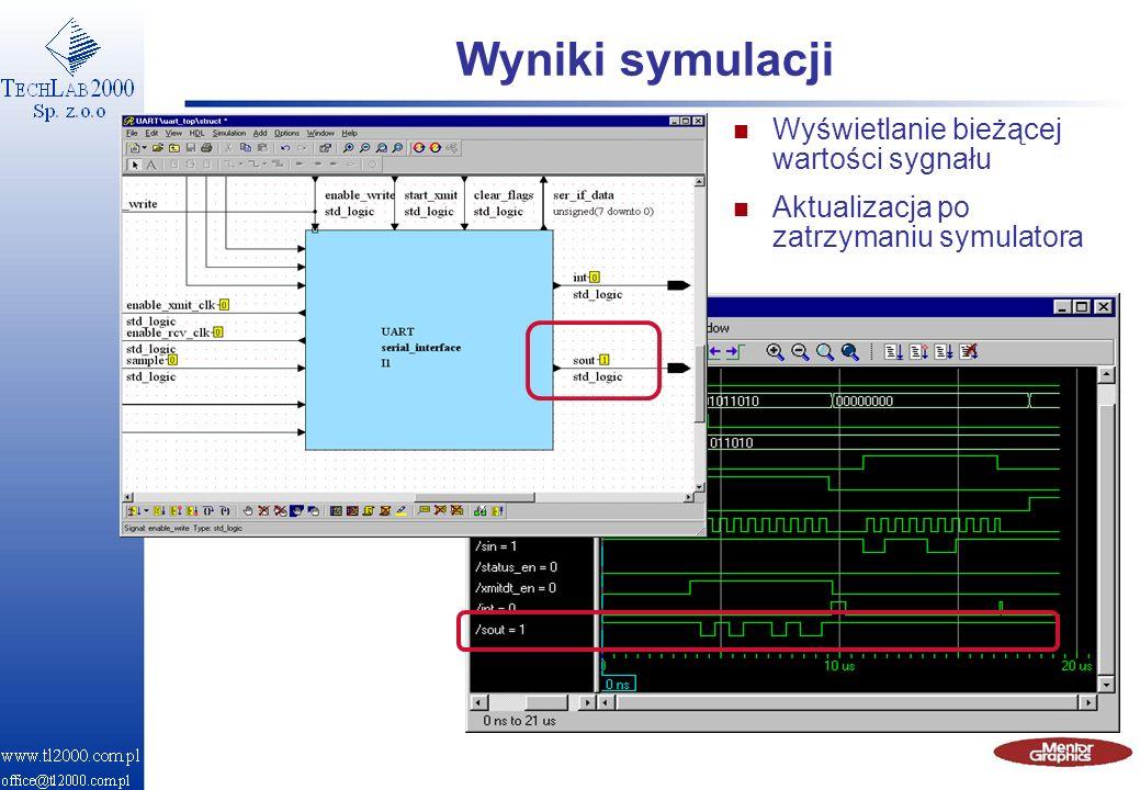 Wyniki symulacji Wyświetlanie bieżącej wartości sygnału