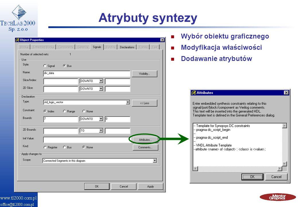 Atrybuty syntezy Wybór obiektu graficznego Modyfikacja właściwości