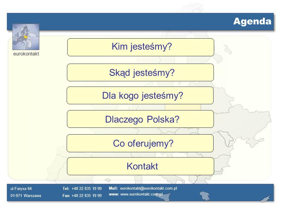 Agenda Kim jesteśmy Skąd jesteśmy Dla kogo jesteśmy Dlaczego Polska Co oferujemy Kontakt