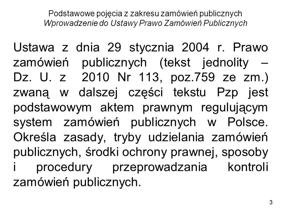 Podstawowe pojęcia z zakresu zamówień publicznych Wprowadzenie do Ustawy Prawo Zamówień Publicznych