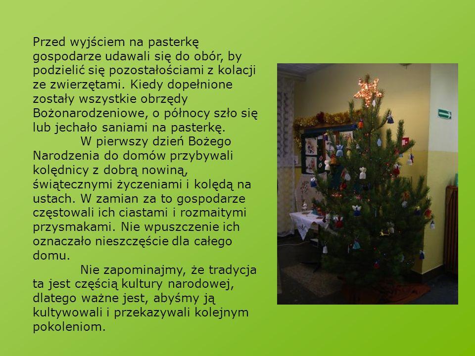 Przed wyjściem na pasterkę gospodarze udawali się do obór, by podzielić się pozostałościami z kolacji ze zwierzętami. Kiedy dopełnione zostały wszystkie obrzędy Bożonarodzeniowe, o północy szło się lub jechało saniami na pasterkę.