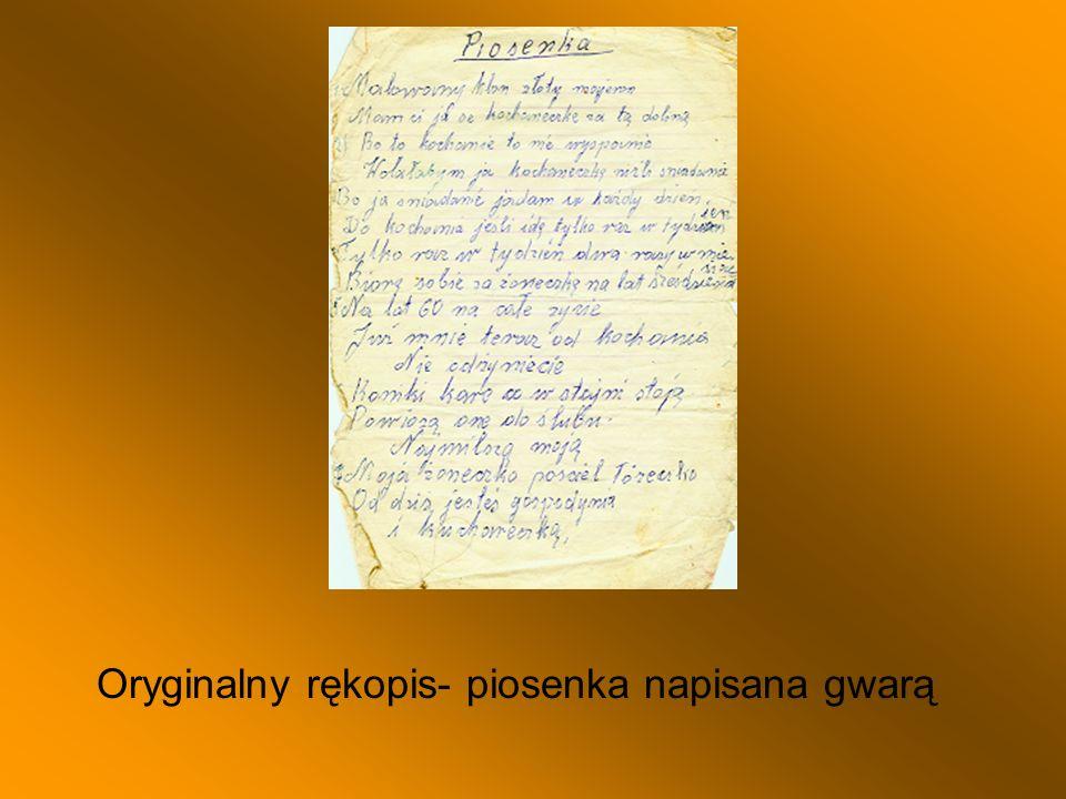 Oryginalny rękopis- piosenka napisana gwarą