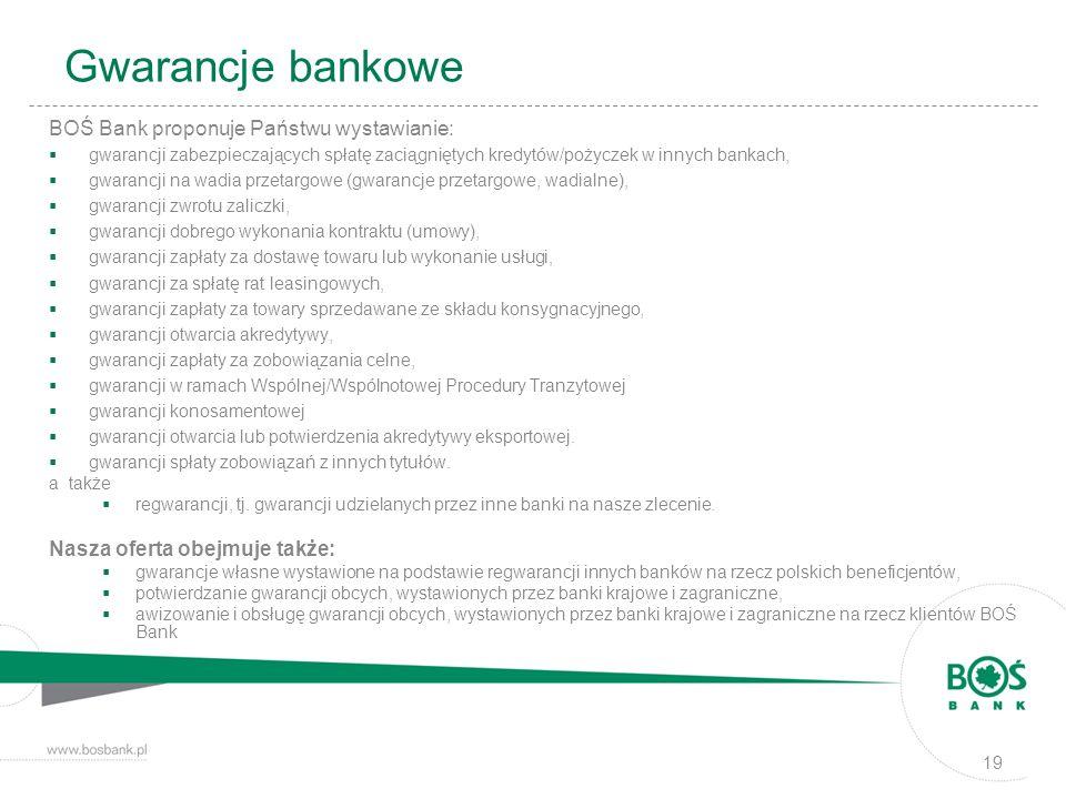 Gwarancje bankowe BOŚ Bank proponuje Państwu wystawianie: