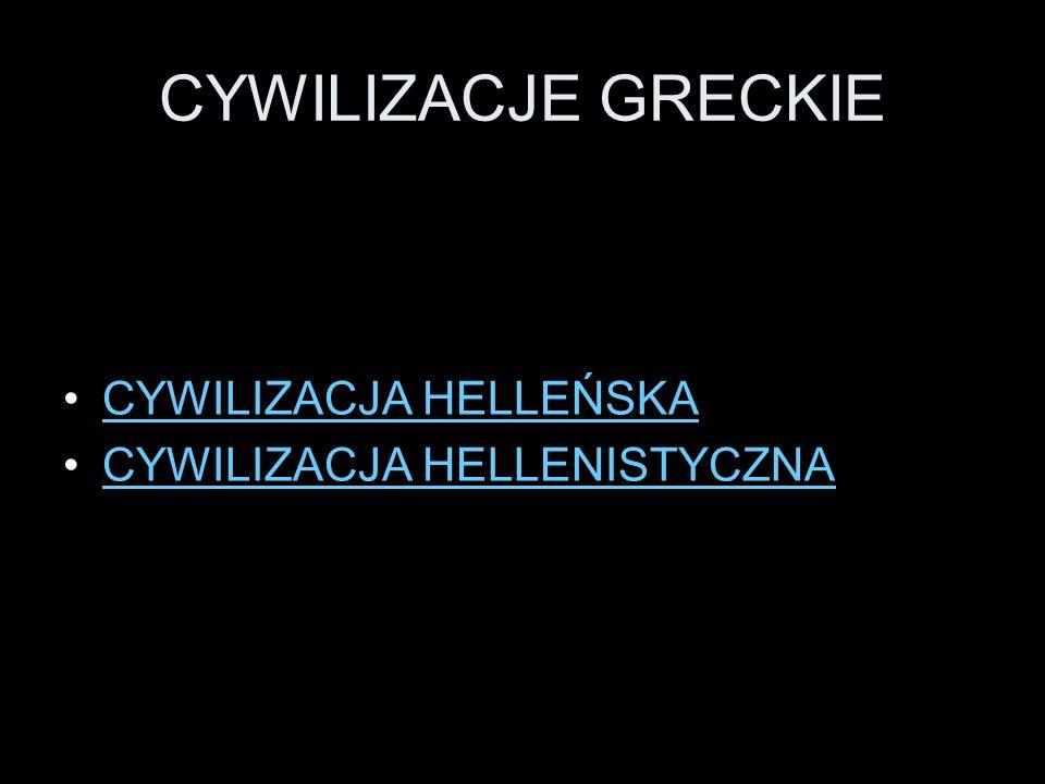 CYWILIZACJE GRECKIE CYWILIZACJA HELLEŃSKA CYWILIZACJA HELLENISTYCZNA