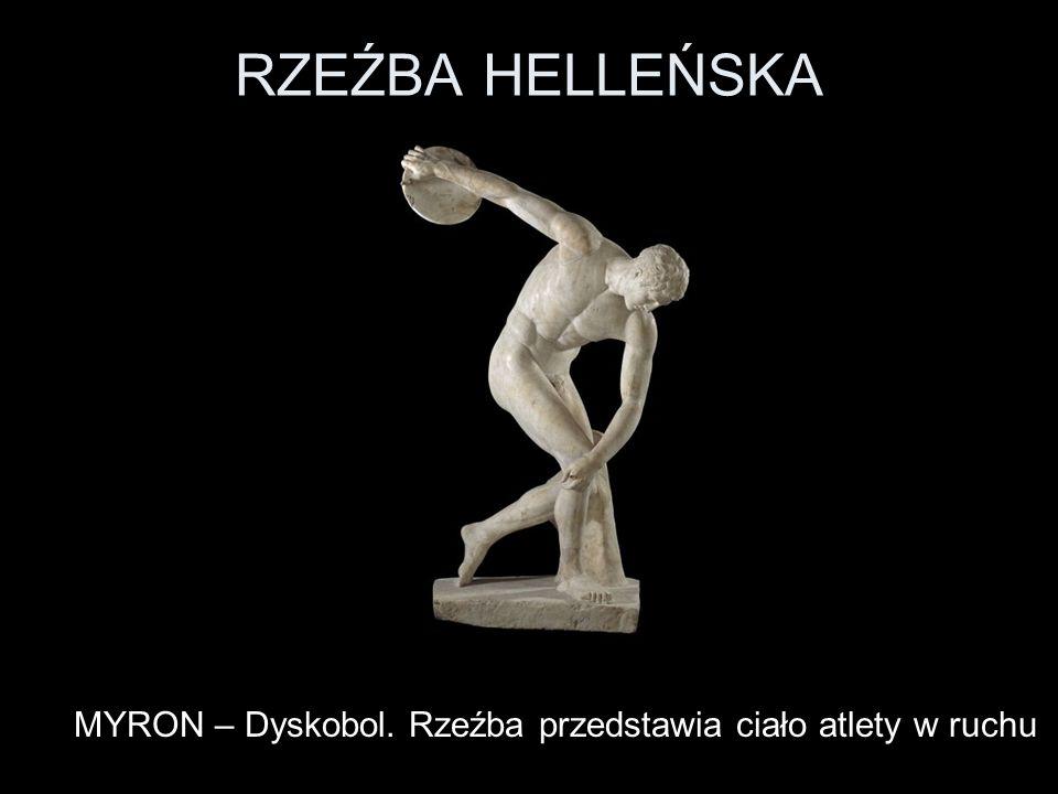 MYRON – Dyskobol. Rzeźba przedstawia ciało atlety w ruchu