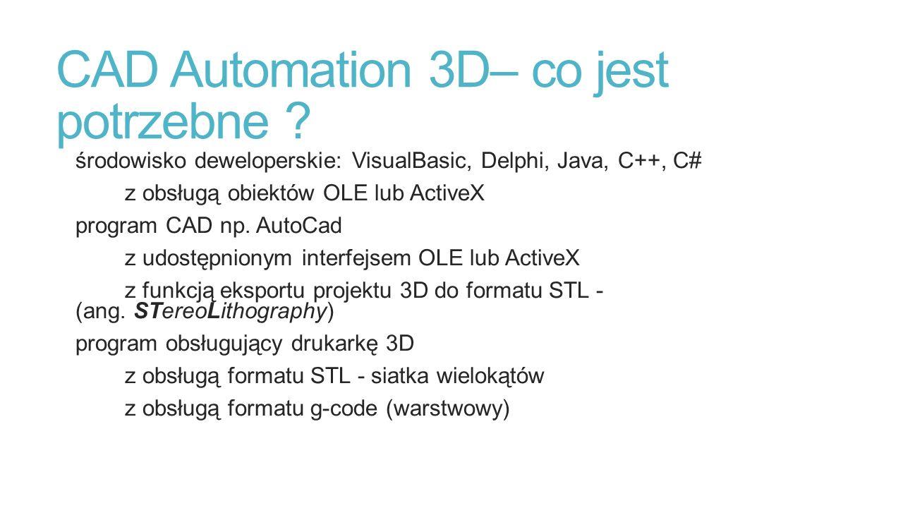 CAD Automation 3D– co jest potrzebne