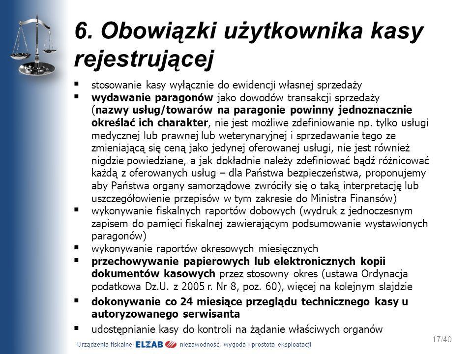 6. Obowiązki użytkownika kasy rejestrującej