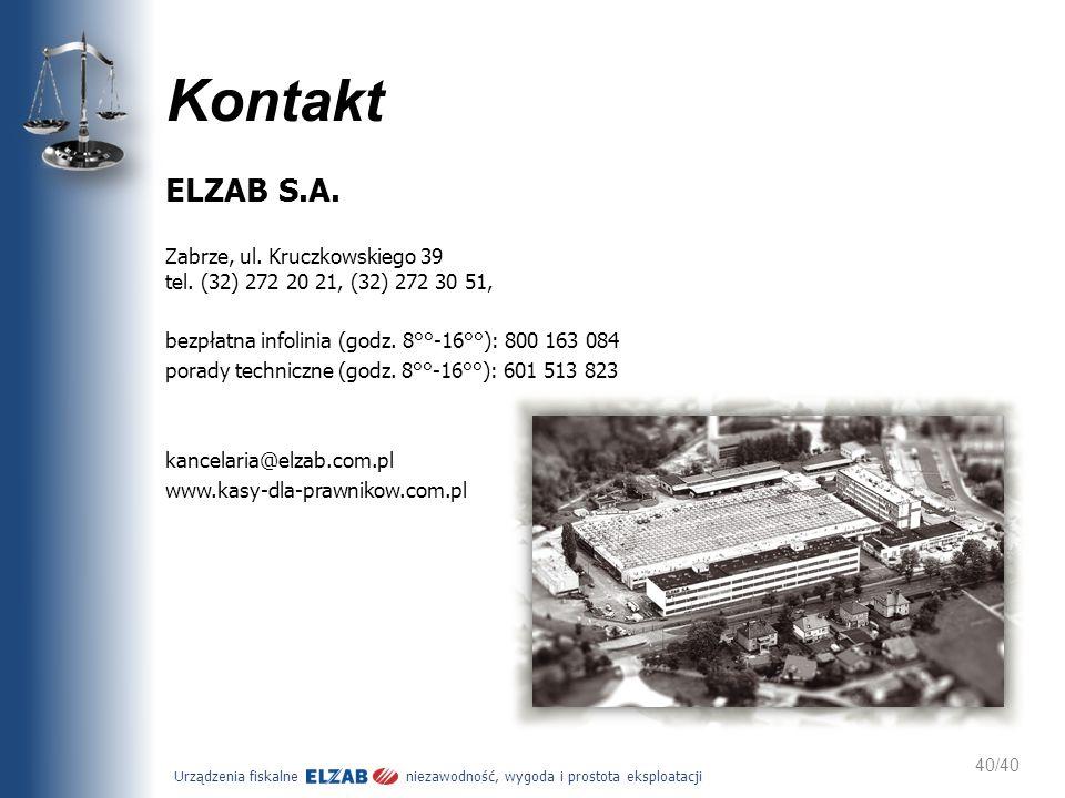 Kontakt ELZAB S.A. Zabrze, ul. Kruczkowskiego 39 tel. (32) 272 20 21, (32) 272 30 51, bezpłatna infolinia (godz. 8°°-16°°): 800 163 084.