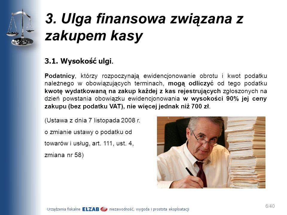 3. Ulga finansowa związana z zakupem kasy