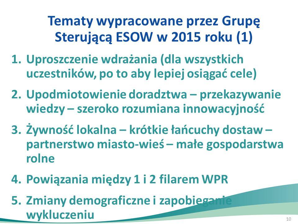 Tematy wypracowane przez Grupę Sterującą ESOW w 2015 roku (1)