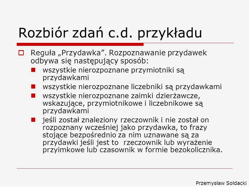 Rozbiór zdań c.d. przykładu